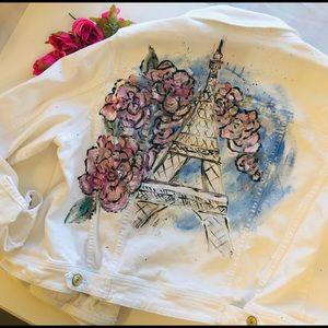 Hand painted Eiffel Tower jean jacket Mizr…